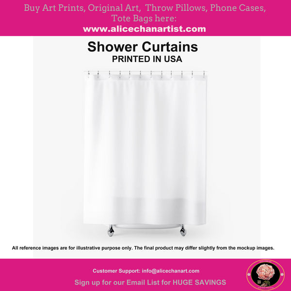 Contemporary Art Shower Curtains, Modern Chinese Polyester Bathroom Curtains-Printed in USA