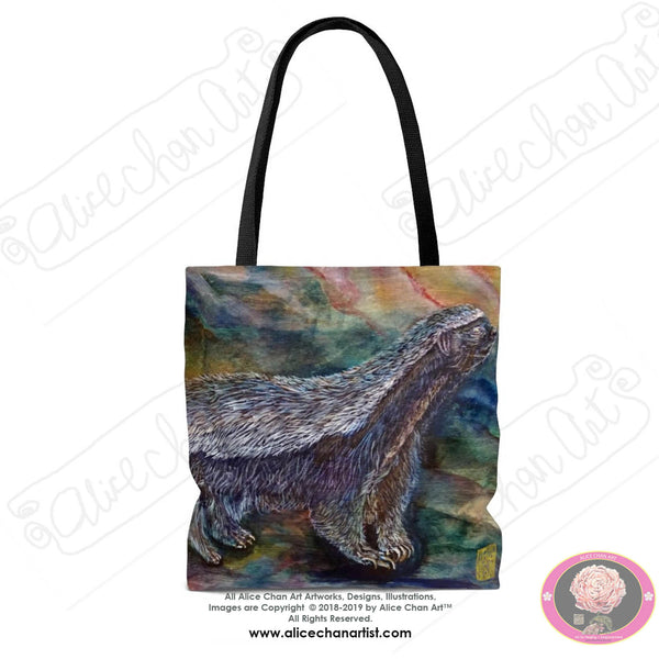 Honey Badger in Search of Bee Larvae Designer Art Square Polyester Tote Bag Cotton Handles Made in USA Size: S,M,L, Honeybadger Badger Gift