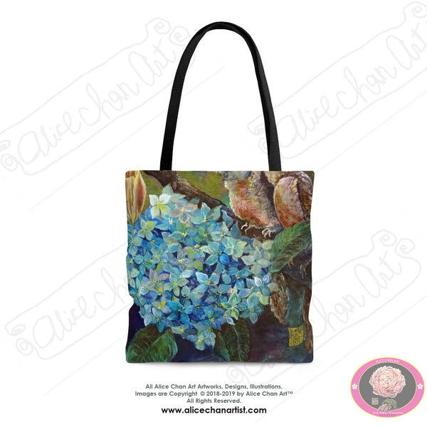 "Morning Chirping Bird Fine Art Floral Designer Art Square Polyester Tote Bag With 12"" Long Cotton Handles- Made in USA (Size: S,M,L)"
