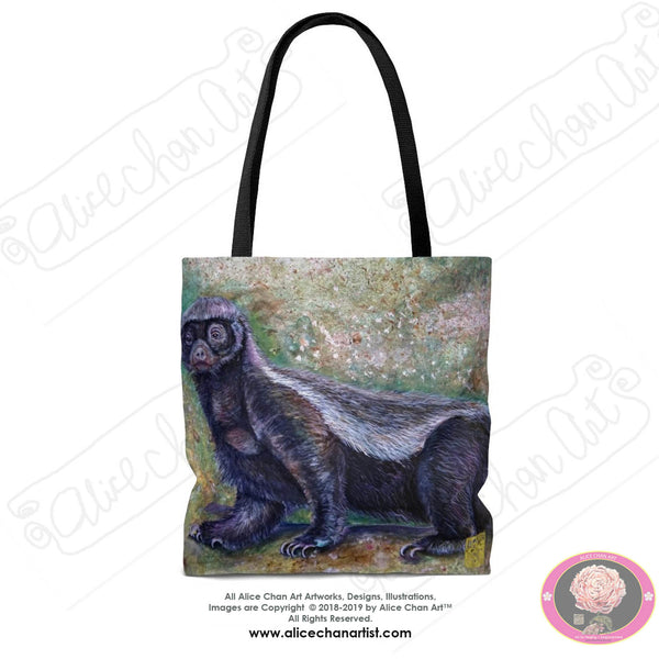 "Wildlife Art, Jambo, the Honey Badger, Animal Designer Art Square Tote Bag With 12"" Long Handle- Made in USA (Size: S,M,L)"