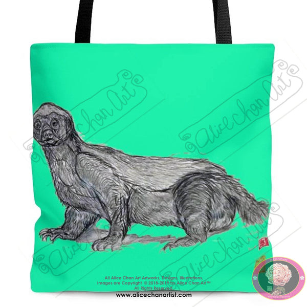 Turquoise Blue Jambo, the Honey Badger, Square Polyester Tote Bag- Made in USA - alicechanart