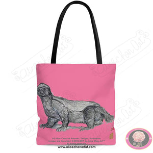 Pink Jambo, the Honey Badger, Art Square Tote Bag- Made in USA (Size: S,M,L) - alicechanart