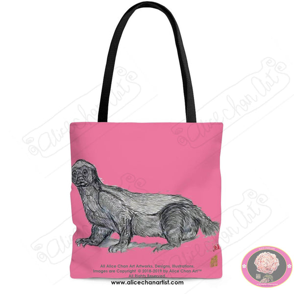 "Pink Jambo, the Honey Badger, Animal Designer Art Square Tote Bag With 12"" Long Handle- Made in USA (Size: S,M,L)"