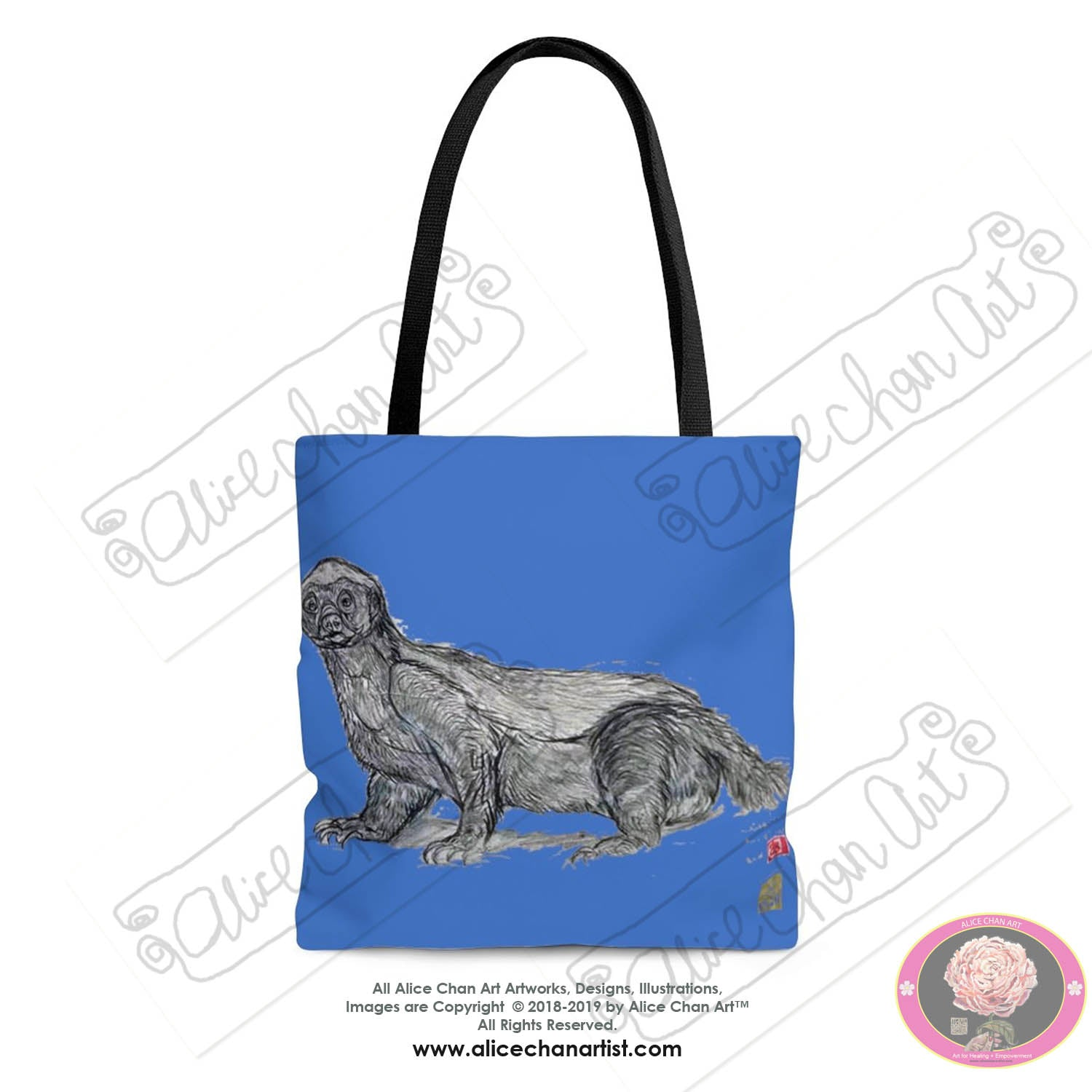 Baby Blue Honey Badger Animal Art Square Tote Bag - Made in USA (Size: S,M,L) - alicechanart