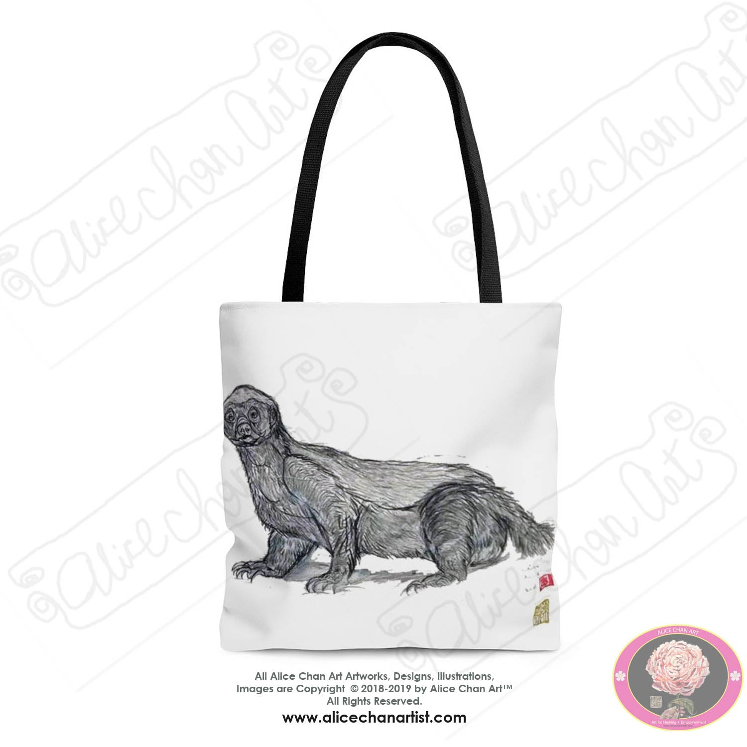 White Jambo, the Honey Badger, Animal Square Polyester Tote Bag- Made in USA - alicechanart
