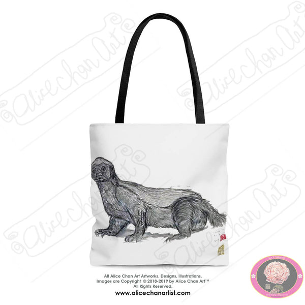 "White Jambo, the Honey Badger, Animal Designer Art Square Polyester Tote Bag With 12"" Long Cotton Handles- Made in USA (Size: S,M,L)"