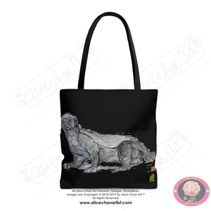 Black Jambo, the Honey Badger, AnimalSquare Tote Bag- Made in USA (Size: S,M,L) - alicechanart