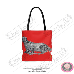 Japanese Red, Jambo, the Honey Badger, Animal Art Square Tote Bag - alicechanart
