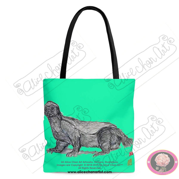 "Turquoise Blue Jambo, the Honey Badger, Animal Designer Art Square Tote Bag With 12"" Long Handle- Made in USA Size: S,M,L, Honey Badger Tote"