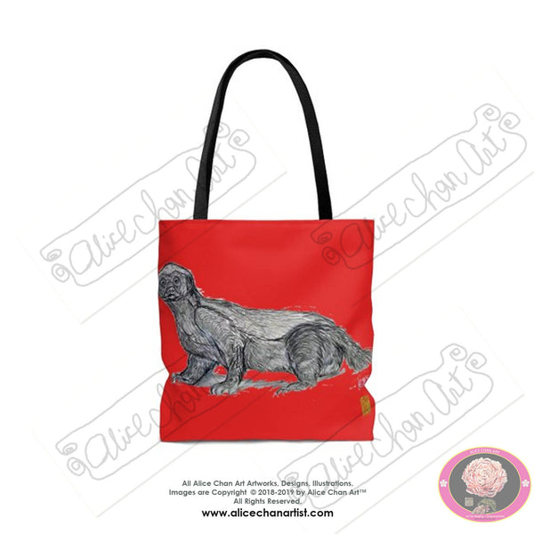 "Japanese Red, Jambo, the Honey Badger, Animal Designer Art Square Tote Bag With 12"" Long Handle- Made in USA (Size: S,M,L)"