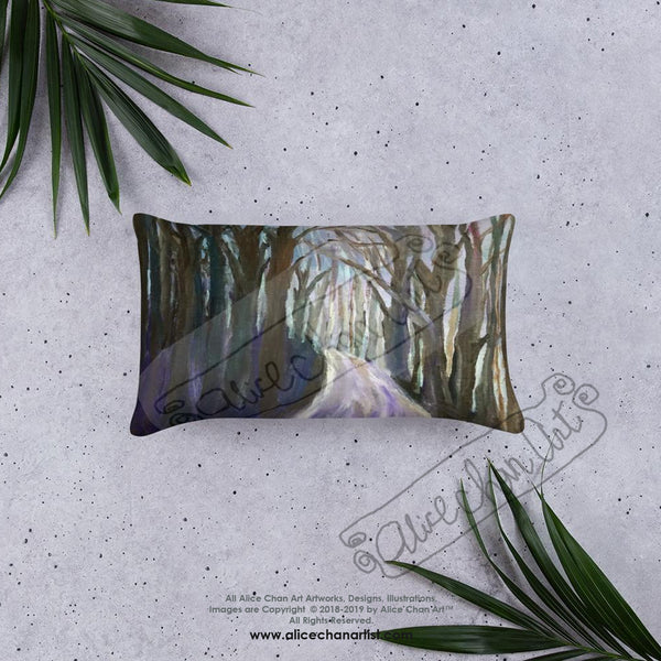"Purple Hiking Trail, 18""x18"", 20""x12"" Landscape Mountain Basic Pillow, Made in USA - alicechanart"