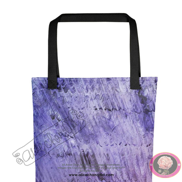 """Purple Mystery"", 15""x15"" Square Abstract Art Print Designer Tote Bag, Made in USA - alicechanart"