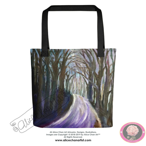 """Purple Hiking Trail"", 15""x15"" Square Hiking Themed Designer Tote Bag, Made in USA - alicechanart"