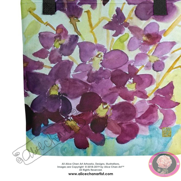 """Curious Exotic Wild Purple Orchids"" 15""x15"" Square Tote Bag, Made in USA/ Europe - alicechanart"