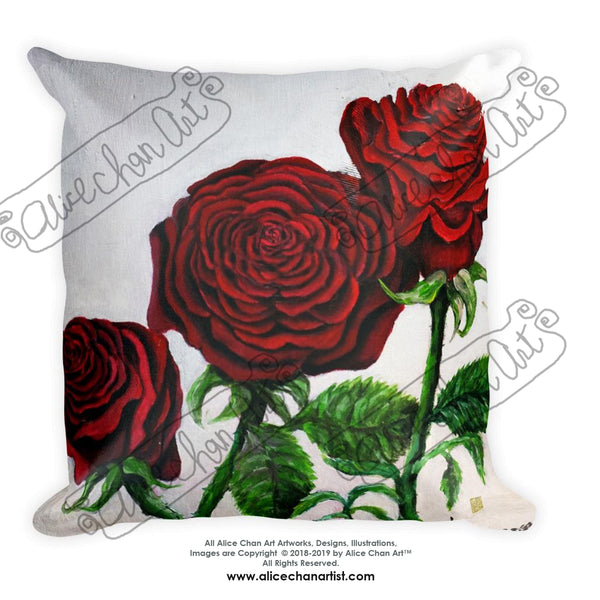 "Elegant Triple Red Roses in Silver Floral Rose Flower Print Fine Art 18""x18"", 20""x12"" Pillow, Machine Washable, Square/Rectangle, Made in USA"