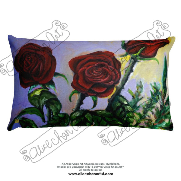 Red Roses in Purple Sky, Floral Rose Designer Basic Pillow, Made in USA - alicechanart