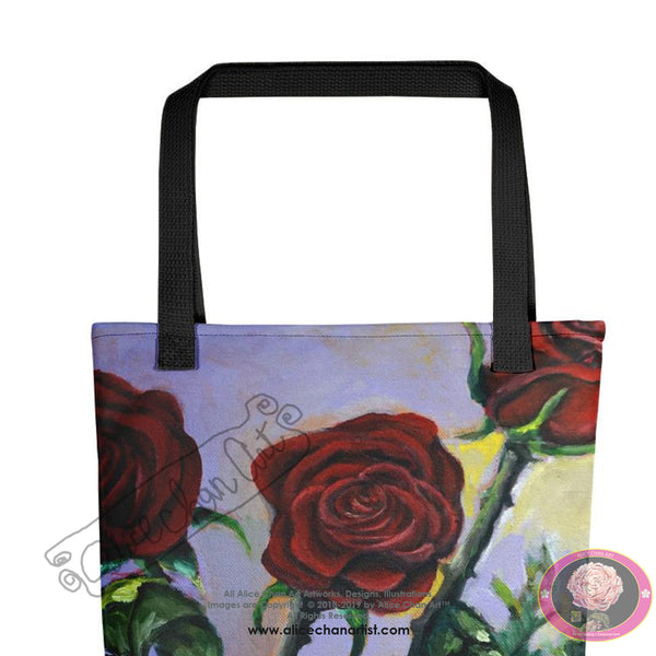 "Red Roses in Purple Sky, 15""x15 Floral Rose Square Tote/ Recycled Bag, Made in USA - alicechanart"