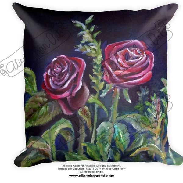 "Vampire Dark Red Rose Floral Roses Flower Print Fine Art 18""x18"", 20""x12"" Toss Pillow, Machine Washable Cover, Square/Rectangle, Made in USA"