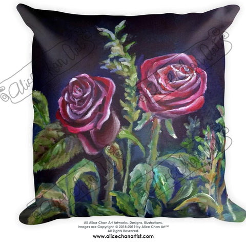 Vampire Dark Red Rose Floral Print Flower Art Basic Pillow, Made in USA - alicechanart