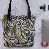 "Blue-Eyed White Tiger, 15""x15"" Designer Tote Bag, Made in USA - alicechanart"
