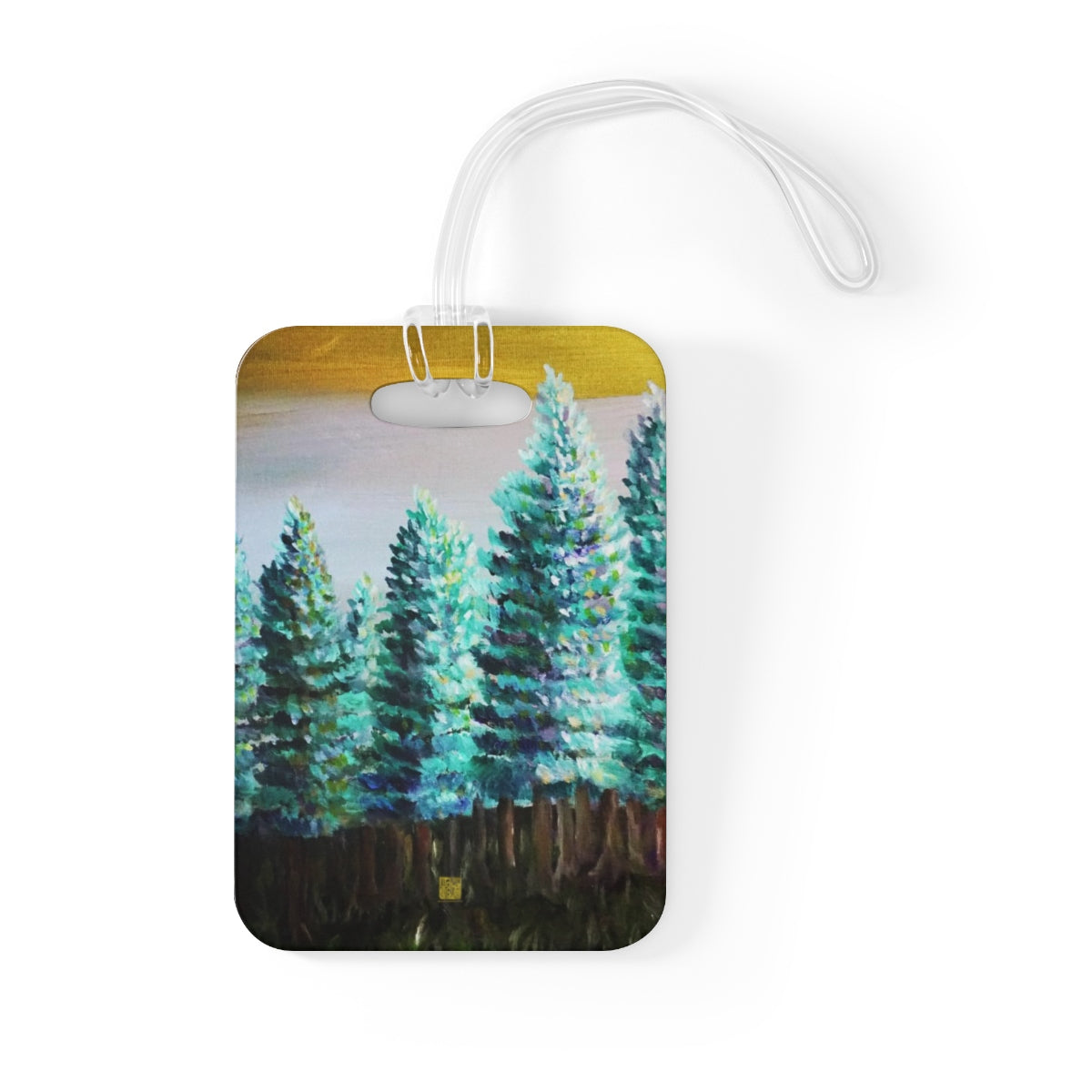 """Trees in Golden Sky"", Pine Trees Glossy Lightweight Plastic Bag Tag, Made in USA - alicechanart"