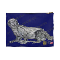"Dark Blue Honey Badger Small 9""x6"" Or Large 12""x9"" Size Flat Accessory Pouch- Made in USA - alicechanart"