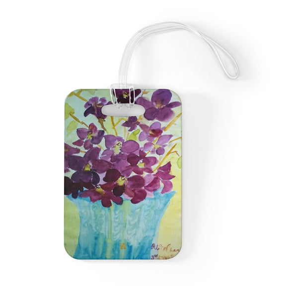 """Curious Exotic Wild Purple Orchids"" Floral Glossy Lightweight Plastic Bag Tag, Made in USA"