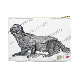 "Honey Badger Cute White Small 9""x6"" Or Large 12""x9"" Size Flat Accessory Pouch- Made in USA - alicechanart"