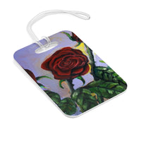 """Summer Red Roses in Purple Sky"", Glossy Lightweight Plastic Bag Tag, Made in USA - alicechanart"