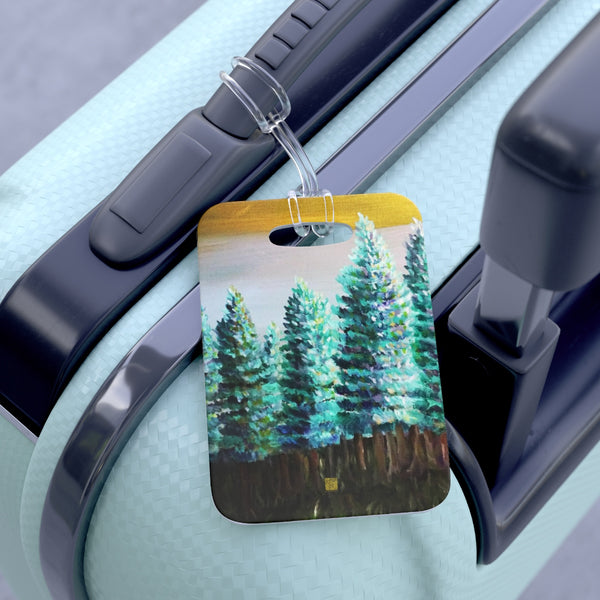 """Trees in Golden Sky"", Pine Trees Glossy Lightweight Plastic Bag Tag, Made in USA"