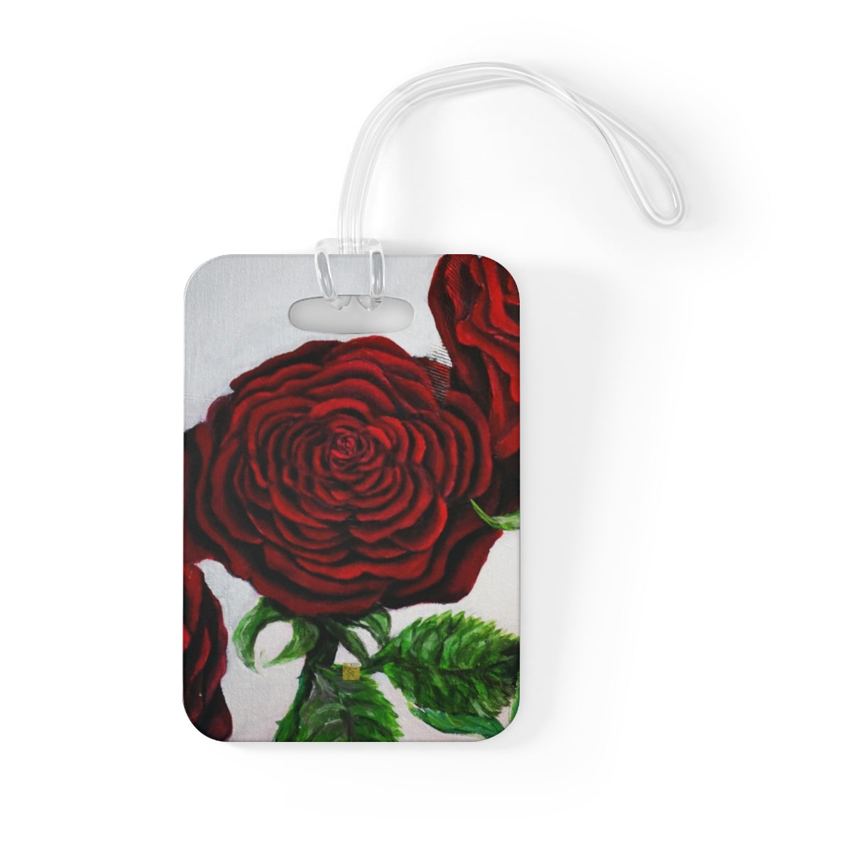 Romantic Triple Deep Red Roses in Silver, Floral Glossy Lightweight Plastic Bag Tag, Made in USA - alicechanart