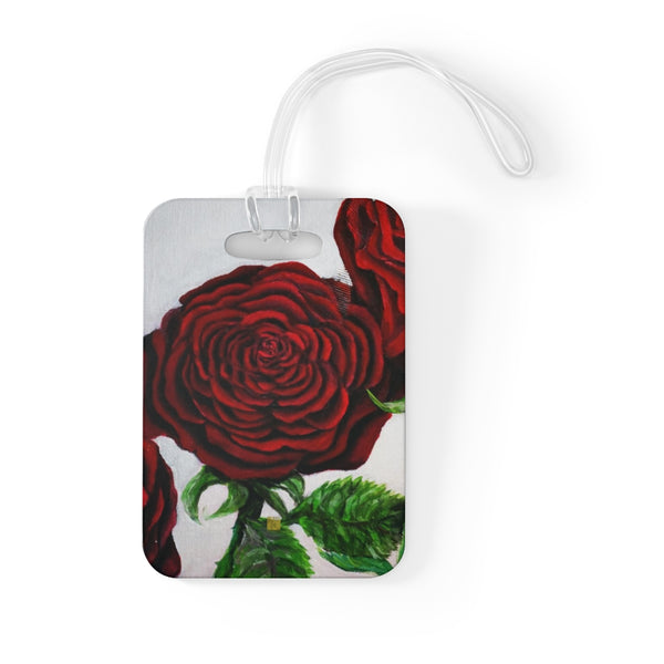 Romantic Triple Deep Red Roses in Silver, Floral Glossy Lightweight Plastic Bag Tag, Made in USA