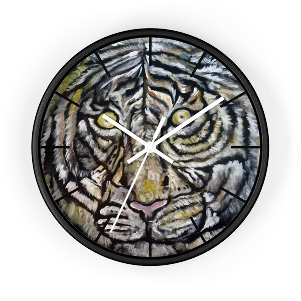 "Golden-Eyed White Tiger, Tiger Face Art 10"" Diameter Modern Wall Clock, Made in USA"