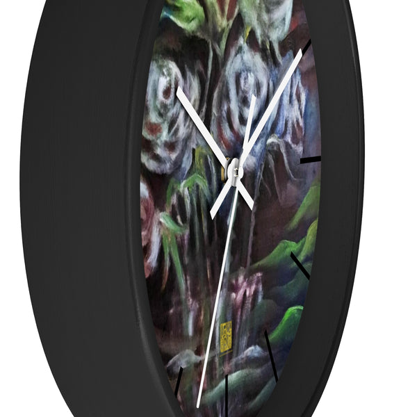 """Ghost Roses"", Floral Print Designer 10 inch Diameter Wall Clock - Made in USA - alicechanart"