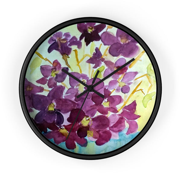 Purple Orchids Orchid Floral Designer 10 inch Wall Clock - Made in USA