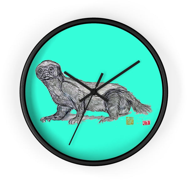 Turquoise Blue Honey Badger Animal Art Modern Unique Wall Clock- Made in USA