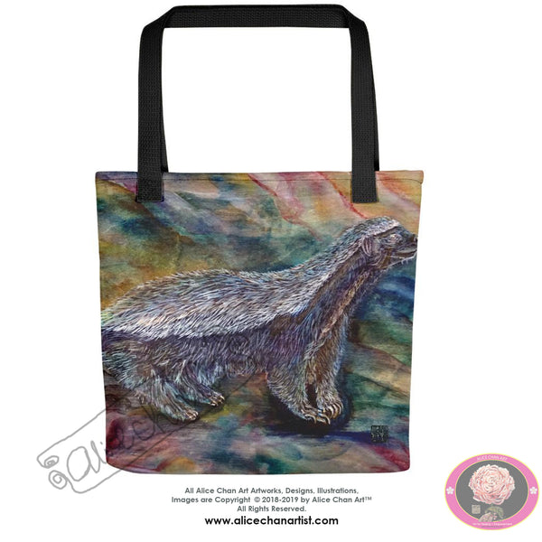 "Cute Honey Badger Chasing Bees, Wild Life15""x15"" Square Tote Bag, Made in USA - alicechanart"