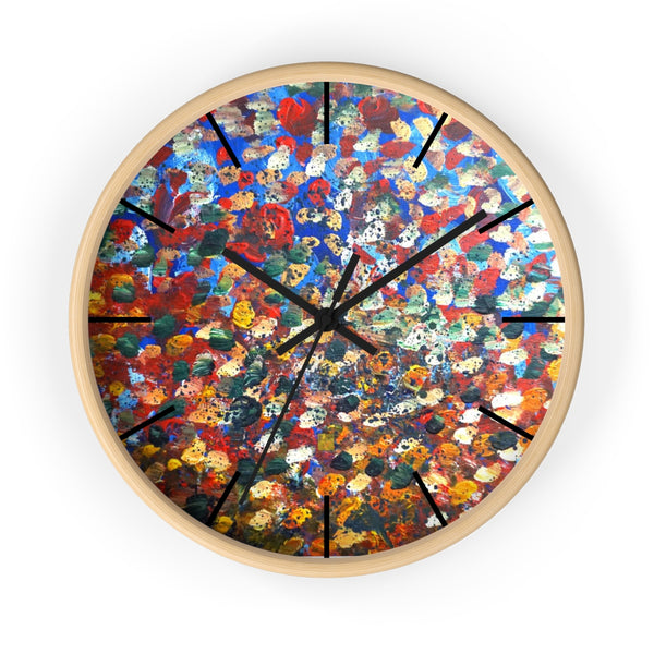 Raindrops 2/3 Designer Abstract Artistic Dotted  10 inch Wall Clock - Made in USA