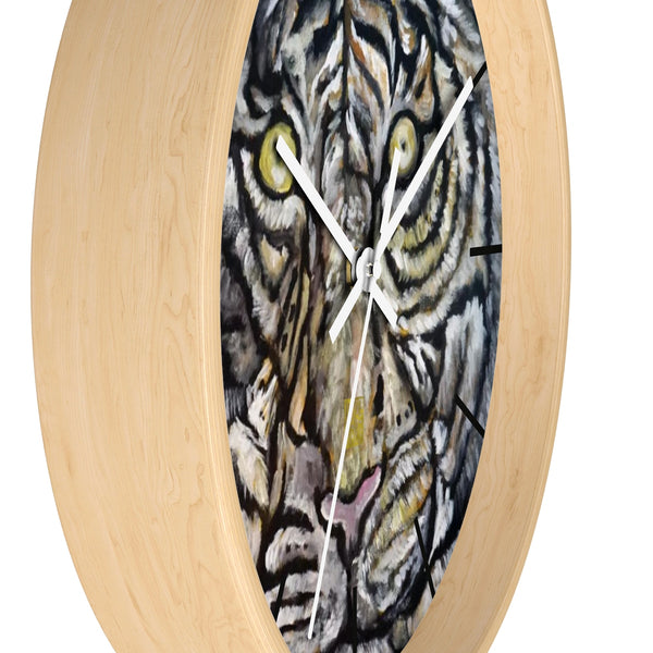 "Golden-Eyed White Tiger, Tiger Face Art 10"" Diameter Modern Wall Clock, Made in USA - alicechanart"