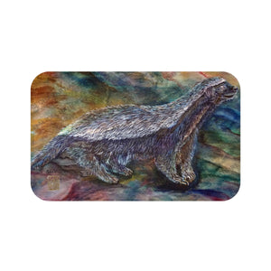 Honey Badger Wildlife Print Art Microfiber Anti-Slip Bath Mat- Printed in USA - alicechanart