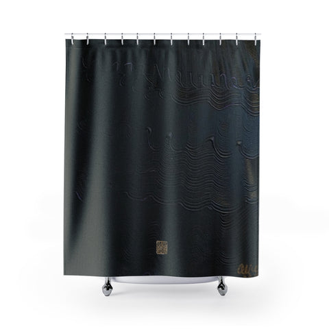 "Black Shower Curtains, Abstract Chinese Art Shower Curtains, Art Shower Curtains, Contemporary Art Shower Curtains, Abstract Art Shower Curtains, Modern Chinese Polyester 71"" x 74"" Bathroom Curtains-Printed in USA, Long Hookless Shower Curtains, Abstract Shower Curtains For Almost Any Popular Bathroom Decor, Modern Shower Curtains"