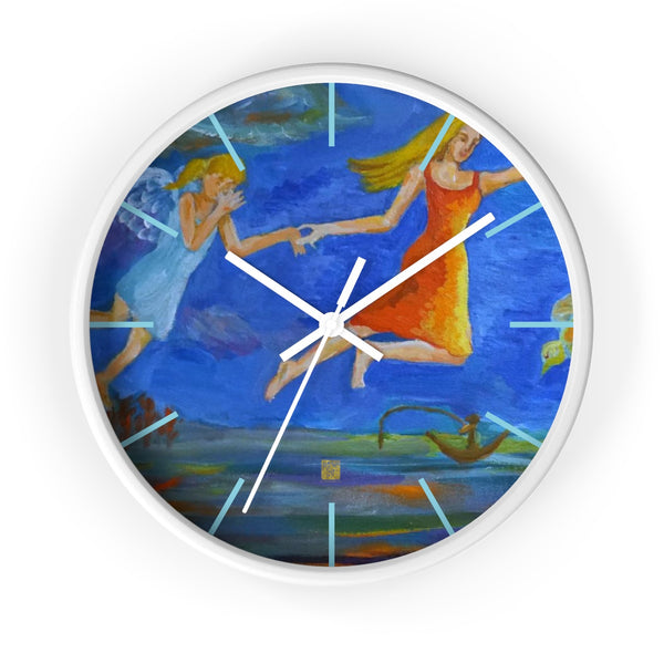 Angels From Heaven, Designer 10 inch Large Blue Modern Wall Clock, Made in USA
