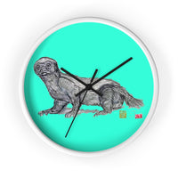 Turquoise Blue Honey Badger Animal Art Modern Unique Wall Clock- Made in USA - alicechanart