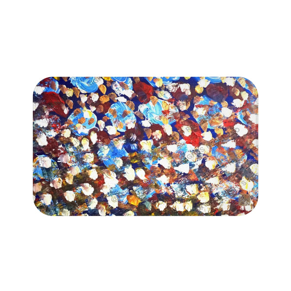 """Raindrops 1/3"", Abstract Colorful Print Art Microfiber Anti-Slip Bath Mat-Printed in USA"