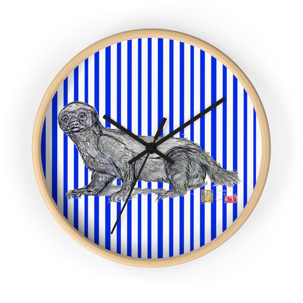 Blue Vertical Striped Honey Badger Animal Art Modern Unique Wall Clock- Made in USA