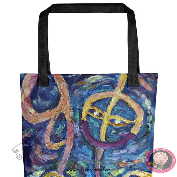 """Chan"" in Chinese"", 15""x15"" Designer Fine Art Tote Bag, Abstract Art, Made in USA - alicechanart"