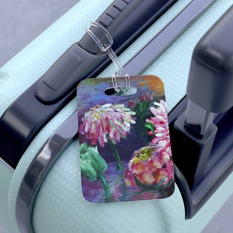 """Pink Daisies Floating on the Lake"", 2015, Glossy Lightweight Plastic Bag Tag, Made in USA - alicechanart"