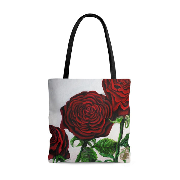 Triple Red Roses Floral Print Flower Tote Bag (Sizes: S,M,L) - Made in USA, Red Rose Tote Bag, Red Roses Bag, Rose Tote Bag, Roses Tote Bag Triple Red Roses In Silver, Flower Floral Print Designer Flower Tote Bag - Made in USA (Size: S,M,L)