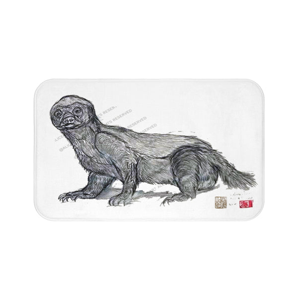 Black White Honey Badger Sketch Print Art Microfiber Anti-Slip Bath Mat-Printed in USA
