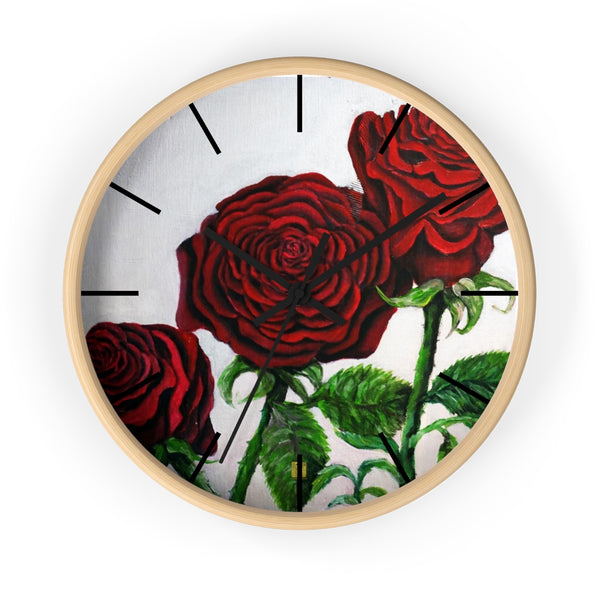 Romantic Red Rose Floral 10 inch Wall Clock- Made in USA Romantic Red Rose Floral Print Indoor Large 10 inch Wall Clock - Made in USA